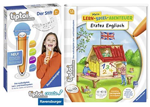 tiptoi® Erstes Englisch Lern-Spiel-Abenteuer Spiralbindung + Ravensburger 007004 Stift Player