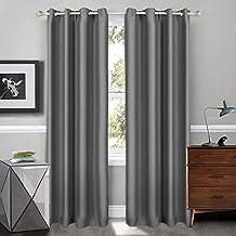 Songmics Cortinas 2 piezas Blackout curtain opaca con ojales 145 x 245 cm Gris plateado LRB245G-2