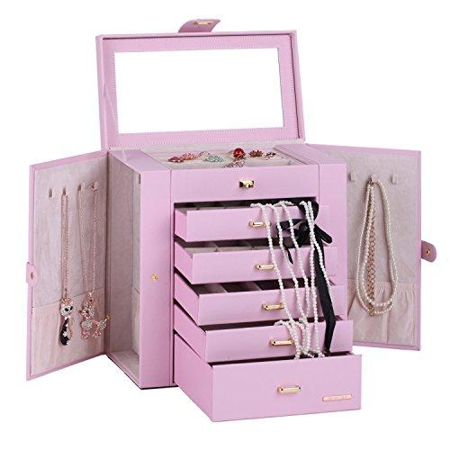 ROWLING Schmuckkasten Schmuckkoffer Schatulle mit 5 Schubladen Spiegel RBC241 (pink)