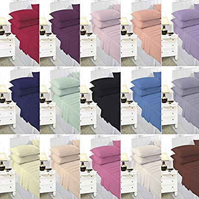 Percale Easy Care Polycotton Fitted Sheets Single - Double - King - Super King - Pillowcase