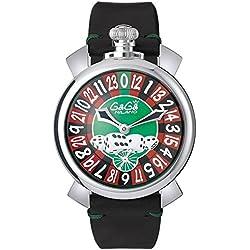 GaGa Milano Men's Las Vegas Roulette 48mm Black Leather Band Steel Case Mechanical Watch 5010.LV.01S