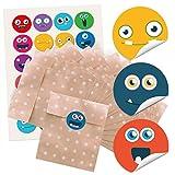 24 kleine braune Papier-Tüten Geschenkbeutel m. beige weißen Punkten (13 x 18 cm) und 24 runde Aufkleber Sticker bunte LUSTIGE GESICHTER smilies faces emoji Sticker blau rot gelb grün