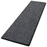 casa pura Glitzer-Teppich Läufer Memphis nach Maß | Teppichläufer für Wohnzimmer, Flur und Küche | mit eingewebten Glitzerfäden | mit Stufenmatten Kombinierbar (Anthrazit - 66x150 cm)