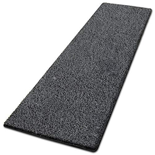 casa pura Glitzer-Teppich Läufer Memphis nach Maß   Teppichläufer für Wohnzimmer, Flur und Küche   mit eingewebten Glitzerfäden   mit Stufenmatten Kombinierbar (Anthrazit - 80x600 cm)