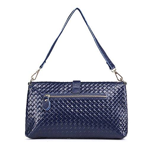 WU Zhi Lady In Pelle A Losanga Borse Sacchetto Del Messaggero Blue