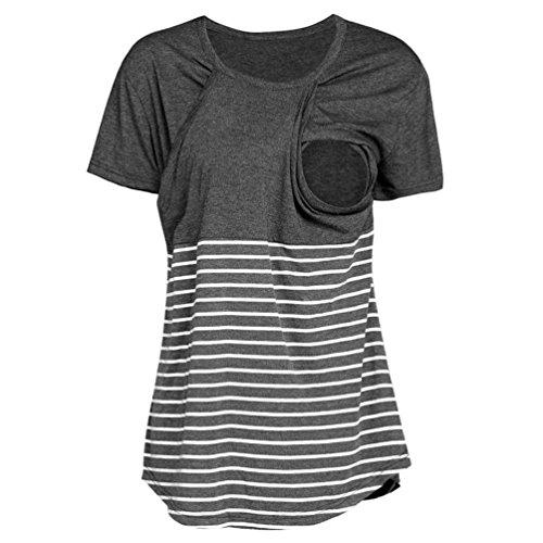 Huhu833 Umstands Stillshirt, Mama Stillshirt Schwangere Still-Stillen Streifen Top T-Shirt Bluse (Dunkel Grau, EU 48(Herstellergröße:L))