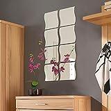 Spiegelfliesen in Wellenform 8er Set je 20x20cm Spiegelkachel Fliesenspiegel Dekospiegel
