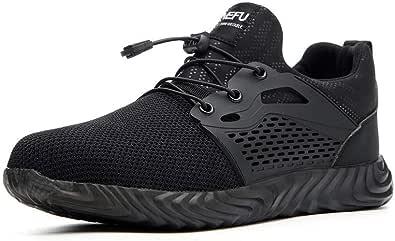 Chaussure de Securité Homme Femme Bottes Travail Chantiers Industrie Sneakers Protection Embout en Acier Basket de Sports Trekking Legere Noir Vert Gris EU35-EU48
