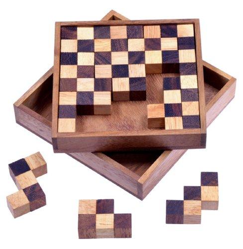Schach Puzzle - Pentomino Puzzle - Lernspiel - Denkspiel - Knobelspiel - Geduldspiel - Logikspiel in Schachbrettmuster-Optik aus Holz