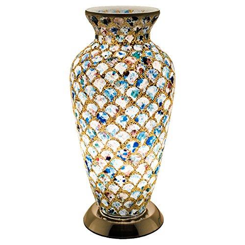 Febland Medium Mosaic Glass Vase Lamp, 25 W, Blue Tile