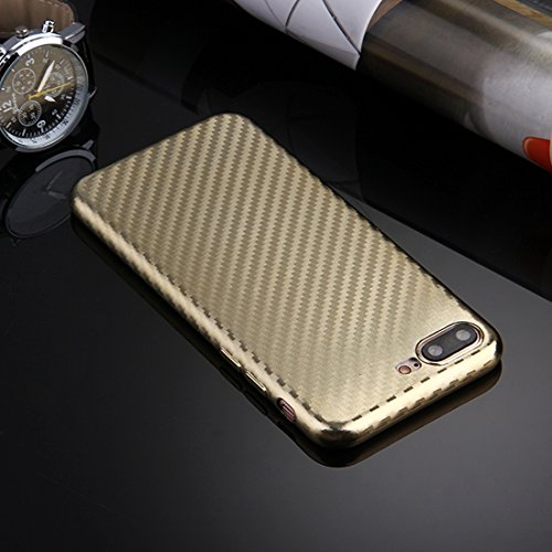 Hülle für iPhone 7 plus , Schutzhülle Für iPhone 7 Plus künstlerische Carbon Faser Texture Soft TPU Schutzhülle Back Cover ,hülle für iPhone 7 plus , case for iphone 7 plus ( Color : Silver ) Gold