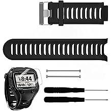 Garmin Forerunner 910XT Band mit Display Schutz, TUSITA® Ersatz Soft Silikon verstellbaren Armband Sport Armband WristBand Zubehör für Garmin Forerunner 910XT (Schwarz)