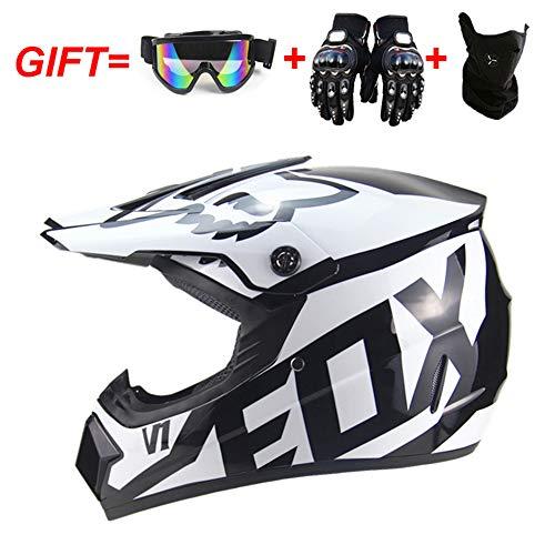 QSWSW Motocross Helm, Adult Cross Off Road Helm mit Handschuhe Maske Brille, Unisex Motorradhelm 12 Stile Verfügbar (L(57~58), Weiß)