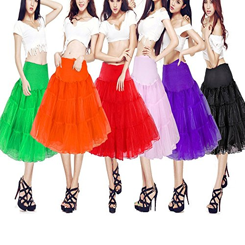 MisShow® Knielang Organza Petticoat Reifrock Unterrock 50s Vintage Underskirt TuTu Kleid Rot