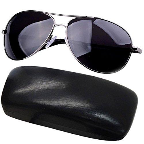 TANGDA® Herren Polarisierte Magnesium-Aluminium Rahmen Sonnenbrille UV400 Brillenetui Brillenbeutel Herrenbrillen - Graue Gläser und Grauer Rahmen