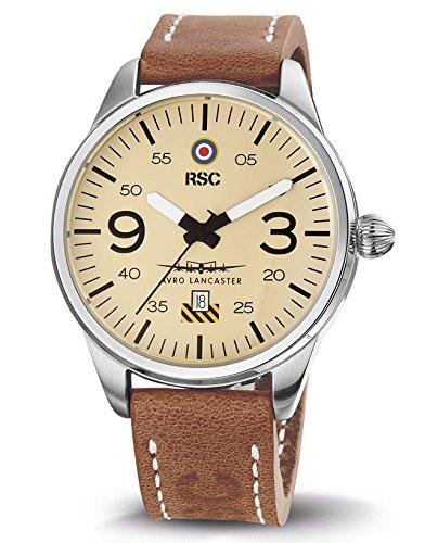 RSC Relojes De Piloto Hombres Análogo De Cuarzo Reloj con Cuero Pulsera Avro Lancaster, rsc1503