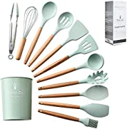 """""""ComCreate"""" Silicone Cooking Kitchen 11PCS Wooden Utensils Tool for Nonstick Cookware,Cooking Utensi"""
