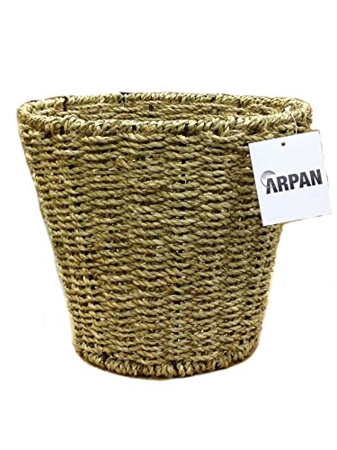 Arpan natural round seagrass waste paper bin basket ideal for home/office/bedrooms by arpan