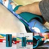 Dyda6Papier Cadeau coulissante Cutter Ciseaux Mini Utilitaire Paper Cutter Outil, Plus sûre Plus Facile Rotatif Coulissant Rouleau de Papier Cadeau Cutter, Bleu, 1 pièce