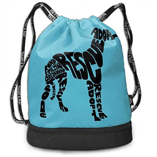 Kordelzug Rucksäcke Taschen Romp Italian Greyhound Rescue Sport Gym Sackpack Tote Reiserucksack -