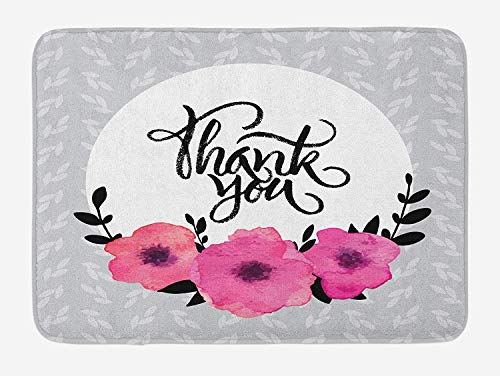 OQUYCZ Modern Bath Mat, Rounded Thank You Quote Above The Purple Flowers Behind Leaf Ivy Background, Plush Bathroom Decor Mat with Non Slip Backing, 23.6 W X 15.7 W Inches, Grey and White Ivy Leaf Cutter