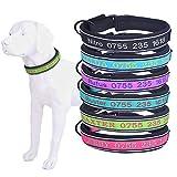 Collar de perro personalizado-Forro suave, reflectante,Ajustable,fuerte Collar de perro-Nombre del perro bordado y número de teléfono-Adecuado para perros machos pequeños, medianos, grandes, perras