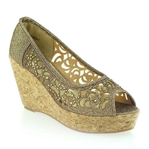 3a853a6e74e31f Frau Damen Abend Party Peeptoe Diamante Keilabsatz Sandale Schuhe Größe  Braun