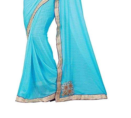 Shree Mira Impex Women's Lycra Sarees Sari(Sky Blue_Free_Size)