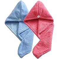 Sombreros de secado de pelo de las mujeres, toallas de baño de torcedura suave super absorvente Wrap