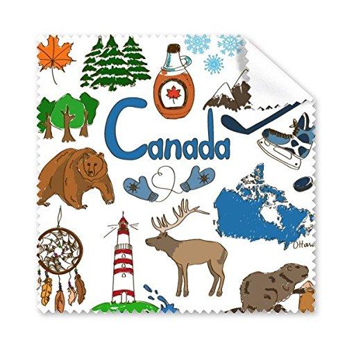 Kanada Landschaft Customs Landmark Tiere National Flagge Resident Ernährung Illustration Muster Brille Reinigungstuch Reinigungstuch Handy-Display von 5x