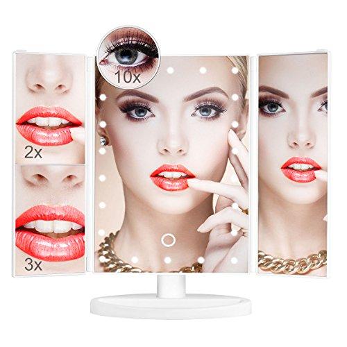 Schminkspiegel mit Licht, Aidonger Kosmetikspiegel beleuchtet, Make-up Spiegel mit 22 LED-Beleuchtung, 1X 2X 3X 10X Vergrößerungsspiegel (Weiß) - Vergrößerungsspiegel Mit Licht