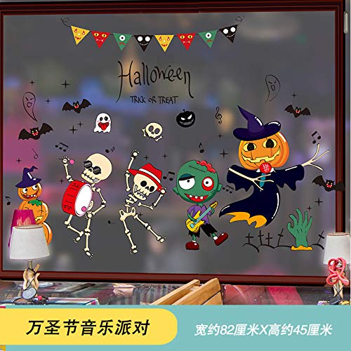 ra de calabaza de Halloween tienda de vidrio puerta Ventana escena diseño decorativo pegatinas de pared Papel autoadhesivo, 02 Fiesta de música de Halloween 82 * 45 cm ()