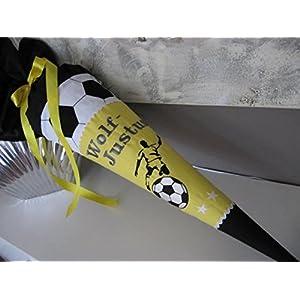 #105 Fussball gelb Schultüte Stoff + Papprohling + als Kissen verwendbar