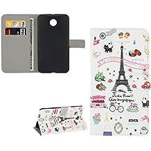 Rey Shop Motorola Google nexo 6 XT1100 carcasa Funda Cartera Funda de diseño y negro con soporte de la torre Eiffel de París