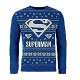 London Co. DC Superman Logo Blue Unisex Christmas Knitted Jumper Large