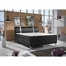 Home Collect ion24cama con somier (180x 200cm, con núcleo de muelles Bonell Colchón Topper en H3Negro Hotel cama de matrimonio tapizada cama entrega gratuita de cama Home, negro, 180 x 200