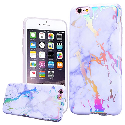 WE LOVE CASE iPhone 6 Plus / 6s Plus Hülle Marmor Rosa iPhone 6 Plus / 6s Plus Hülle Silikon Weich Marble Handyhülle Tasche für Mädchen Elegant Backcover , Soft TPU Flexibel Case Handycover Stoßfest B White