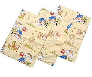 OYO BABY - Foam Cushioned Cotton & Plastic Waterproof Sleeping Sheet { Pack of 3 } (Cream)