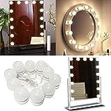 LED-Spiegel-Lichtstreifen, 4M/13Ft Dimmbar machen Spiegel-Licht mit 10 LED-Birnen LED-Eitelkeits-Spiegel-Lampen-dekorativer Glühlampe für Verfassungs-Tabelle in der Umkleidekabine