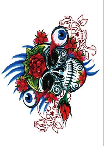 Adesivo per tatuaggi temporanei con teschio di colore per uomini adulti donne bambini impermeabile finto body art cover up set anchor graphic 21x15cm 5 pcs
