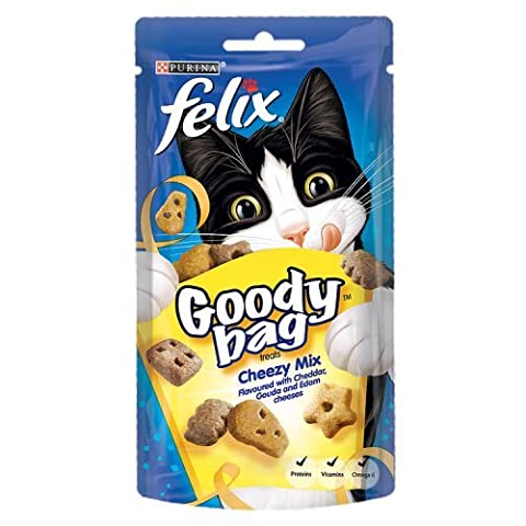 Felix Goody Bag Cheezy Mix Cat Treats Flavoured with Cheddar Gouda and Edam, 60g