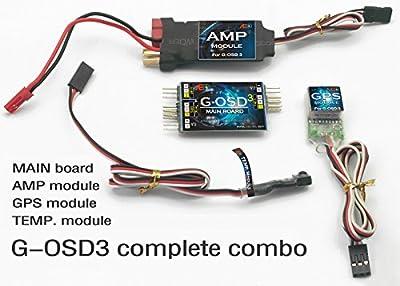 AEO G-OSD3 GPS on Screen Display for RC Airplane FPV Model Plane Main board with GPS Module w/AMP module w/TEMP module (full combo)