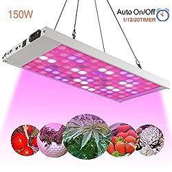 Koopower 150W 98 LED Pflanzenlampe, Timer Fernbedienung 3 Modi Vollspektrum Grow Light Pflanzenlicht, Grow Lamp für Zimmerpflanzen Blumen und Gemüse tageslicht-weiß