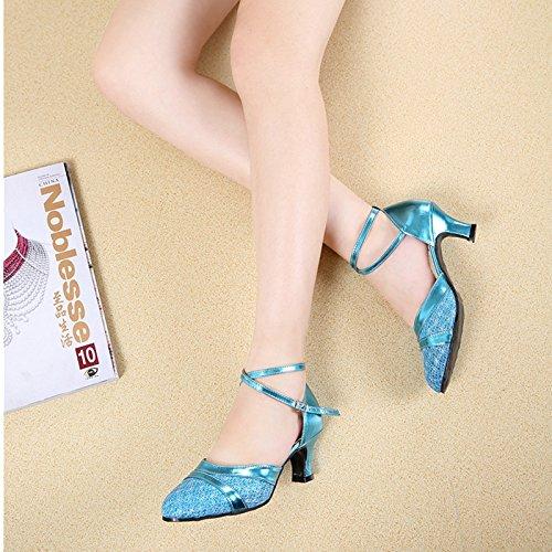 XPY&DGX Latino scarpe da ballo nel tacco alto piazza per adulti scarpe da ballo donna blu dimensioni grandi scarpe da ballo con bassa scarpe moderne, 6 240MM