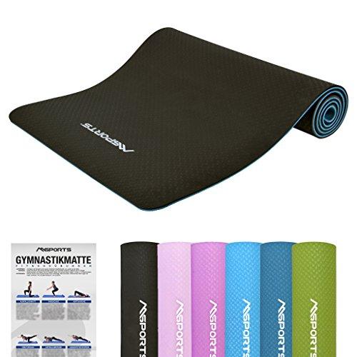 MSPORTS Gymnastikmatte Yoga-Premium inkl. Übungsposter 183 x 61 x 0,8 cm | Hautfreundliche - Phthalatfreie Fitnessmatte Yogamatte (Schwarz - 183 x 61 x 0,8 cm)