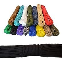 Cuerda de paracaidismo 550 100 pies-30 m. Ideal para el aire libre, el camping, el jardín o trenzar pulseras. ¡Cómprala ahora! (negra)