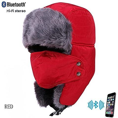 Coco Fashion Unisex adulto caldo comodo Berretto con Wireless Bluetooth cuffie rosso Wine Red taglia unica