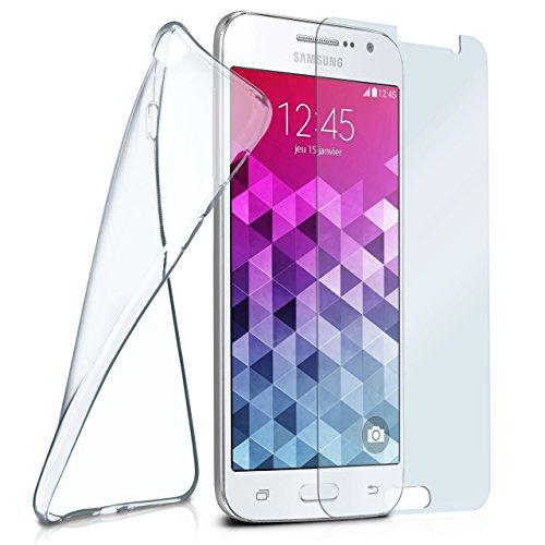 moex Silikon-Hülle für Samsung Galaxy Grand Prime | + Panzerglas Set [360 Grad] Glas Schutz-Folie mit Back-Cover Transparent Handy-Hülle Samsung Galaxy Grand Prime Case Slim Schutzhülle Panzerfolie