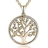 JO WISDOM Halskette Baum Des Lebens,kette anhaenger silber 925 baum des lebens Anhänger Halskette,Damen Schmuck,kette: 45-50CM (rose vergoldet,Zirkonia)