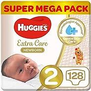 Huggies New Born Diapers, Size 2, Super Mega Pack, 4-6 kg, 128 Diapers